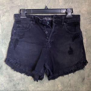 Wild Fable Raw Edge Denim Black Shorts